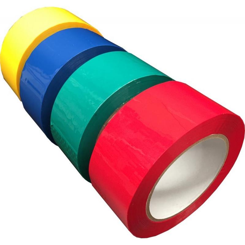 cinta de embalaje adhesiva de varios colores.